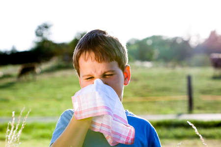 child with an allergy to pollen while you blow your nose with a white handkerchief in nature