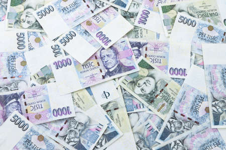 korun: Czech paper money on white background Stock Photo