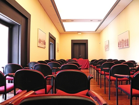 interior of modern conference room ready for audience photo