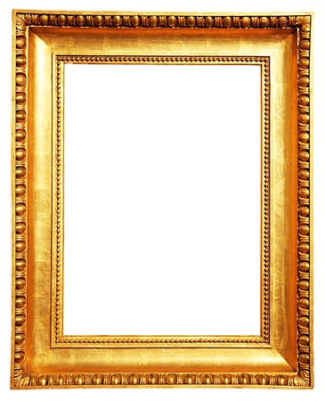 a gold picture frame isolated on white