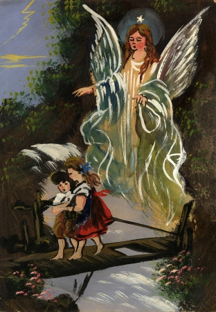 vintage illustration of guardian angel protecting children