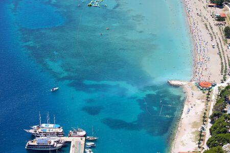 Beach birds eye view, Mediterranean Sea, Omis, Dalmatia, Croatia, summer vacation background