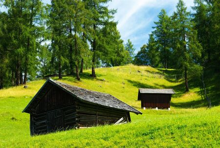 Sheds in a Tyrolian Meadow, Seefeld, Austria