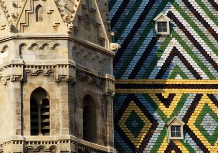 Colorful tiles on the roof of St Stephens Cathedral, Vienna, Austria