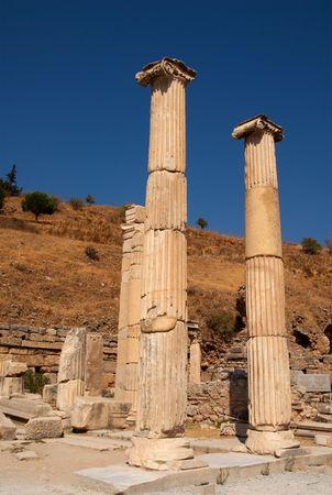 Columns in the ruined city of Ephesus, Turkey Stock Photo
