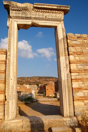 An ancient doorway in the ruins of the Church of St Mary, Ephesus, Turkey