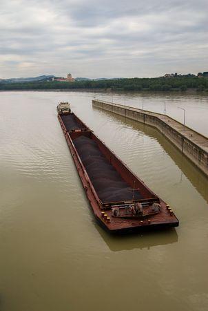 Coal Barge on the Danube, Austria Stock Photo