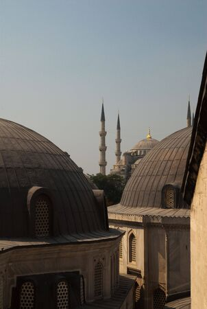 A view of the Blue Mosque from the windows of the Hagia Sophia, Istanbul, Turkey