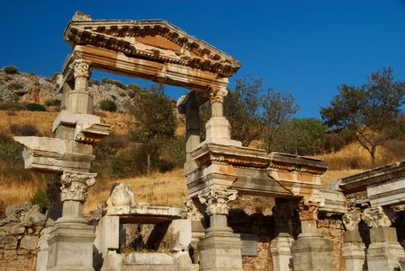 Fountain of Trajan, Ephesus, Turkey. The remains of a fountain and pool set up in honor of the Roman Emperor Trajan. Stock Photo