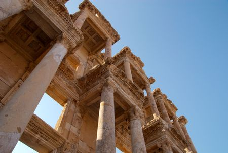 A diagonal perspective on the columns of the Library of Celsus, Ephesus, Turkey