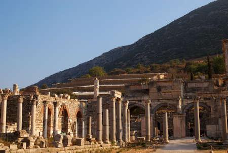 A collection of columns and capitals, caught in the late afternoon sun, Ephesus, Turkey Stock Photo - 4794817