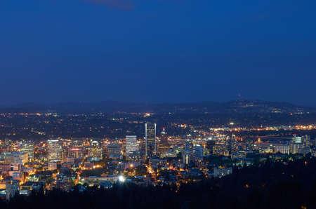 Portland, Oregon after sunset Editorial