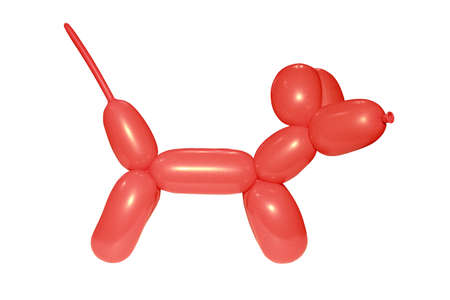 red balloon in the shape of a poodle on a white background photo