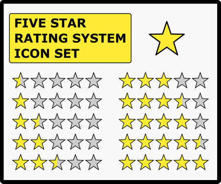 Five Star Rating System, Full Vector Set.