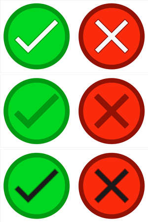 Green check and red cross checkmarks. Vector image button icons. Vettoriali