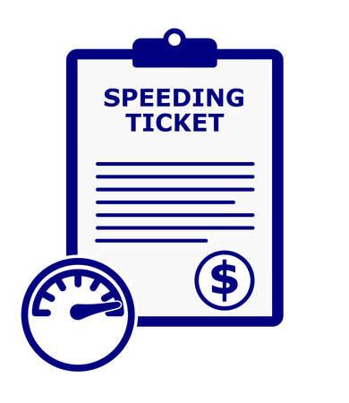 Blue speeding ticket citation vector set.