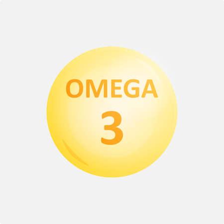 Omega 3 vitamin supplement vector icon image. Illustration