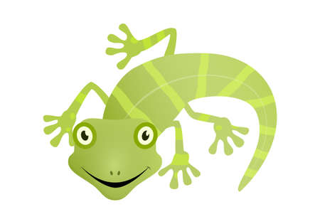 Lizard green gecko happy face vector illustration.