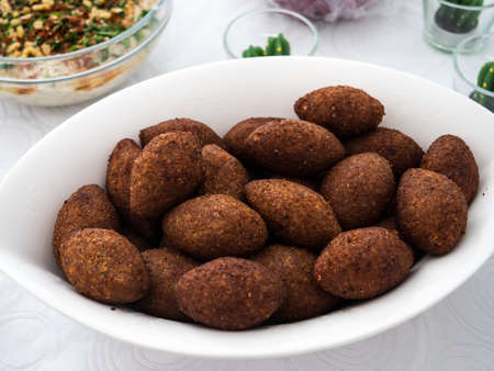 A plate with kibbe, a famous arabic food from Lebanon Banco de Imagens