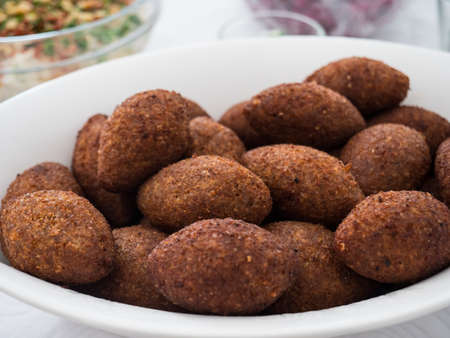 Close-up of a plate with kibbe, a famous arabic food from Lebanon