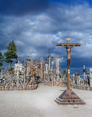 theological: cross with golden Christ to the Hill of Crosses