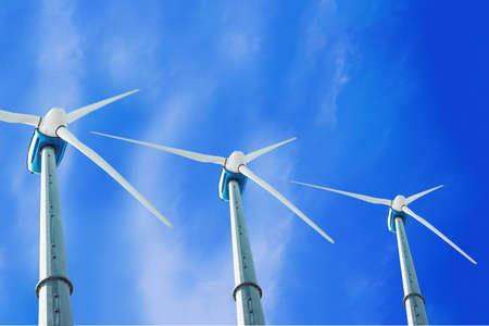 angle view of a wind turbines with blue sky background