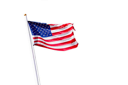 american flag waving on the beam on a white background