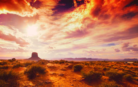 amazing landscape at the sunset at the monument valley national park in Arizona USA with cloudy sky and drama