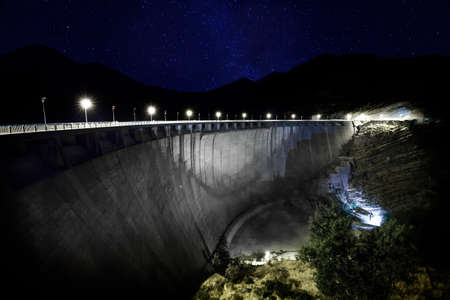 Power, engineering, landmark, stars, night, electricity, basin, hoover, lake, technology, galaxy, energy, fall, blue, dam, electricity, generator, artificial, white, river, Outdoors, sky, reservoir, tourism, cascade, water, bridge, industry, nature, starr Stock Photo