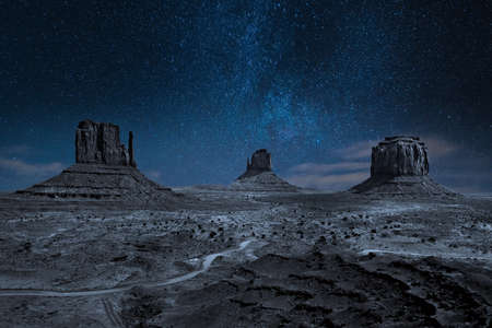 panoramic photo of the Monument Valley Park by night in Arizona in USA with starry sky, tree and dry vegetation in the foreground