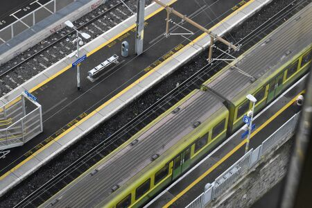 Dublin, Ireland - January 15, 2020: DART pulling into grand canal dock station 版權商用圖片