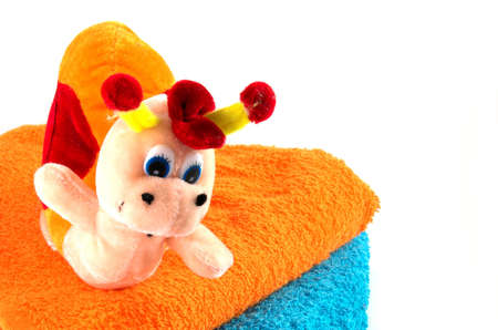 Toy bath  with vivid colours towels Stock Photo - 545007