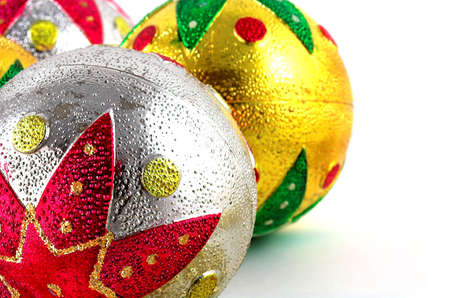 christmas balls in white background photo
