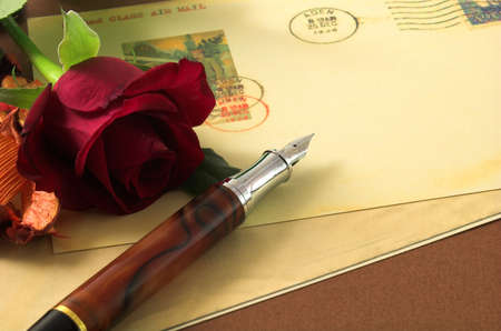 mark pen: romance vintage postcard and red rose