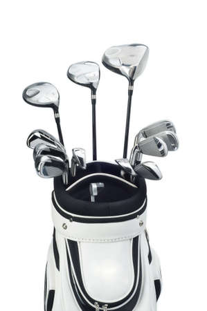 golf clubs in a white bag on white background photo