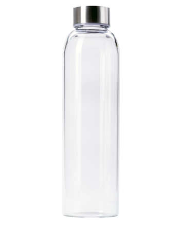 blank Transparent of aluminum lid glass bottle isolated on white background photo
