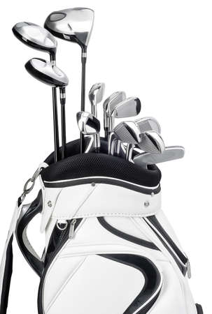Golf clubs in white and black bag isolated on white background photo