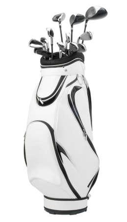 Golfclubs in weiß und schwarz Tasche isoliert auf weißem Hintergrund