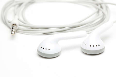 concept of digital music white Headphones photo