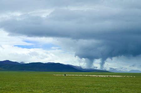 great plains: tornado bearing down