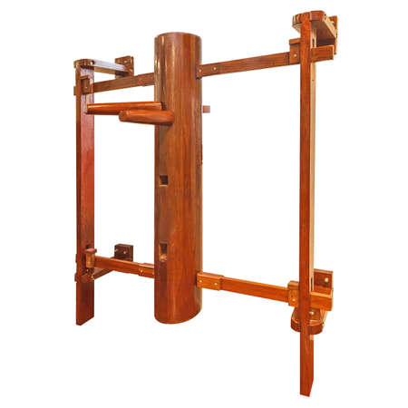 chun: Wing Chun  wooden dummy training equipment Isolated on white