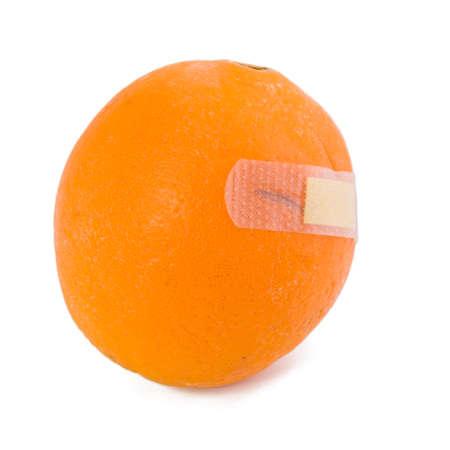 affixed: Orange stickers affixed bleeding  isolated on white