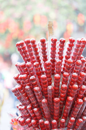 candied fruits: Many sugar-coated haws string