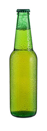 single beer bottle: Bottle of beer with drops isolated on white background