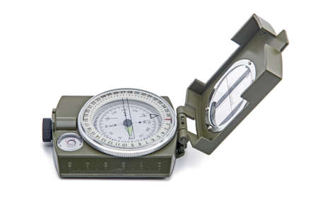 Army green Compass isolated on white background photo