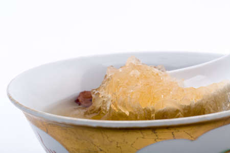 bird nest: Bird nest soup with Chinese bowl Stock Photo