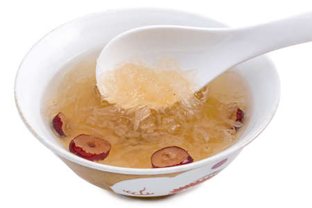 Bird nest soup with Chinese bowl Stock Photo