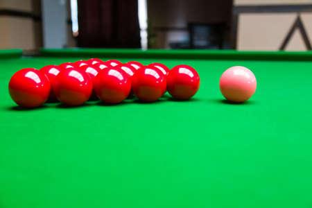 snooker balls: Snooker balls on green pool table