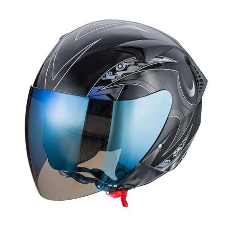 Black pattern helmet isolated on white background photo