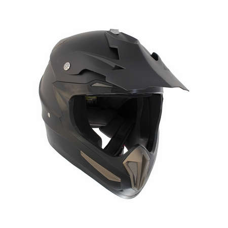 Matte black motocross motorcycle helmet Isolated on white background photo